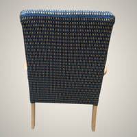 SOLD     2 x Refurbished Wooden Framed Arm Chairs in Blue & Cream Checks Fire Resistant